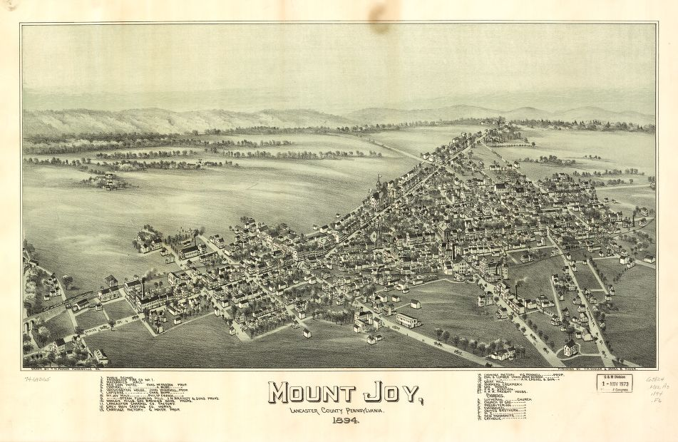 8 x 12 Reproduced Photo of Vintage Old Perspective Birds Eye View Map or Drawing of: Mount Joy, Lancaster County, Pennsylvania, 1894. Fowler, T. M. - Moyer, James - Fowler, T. M. 1894
