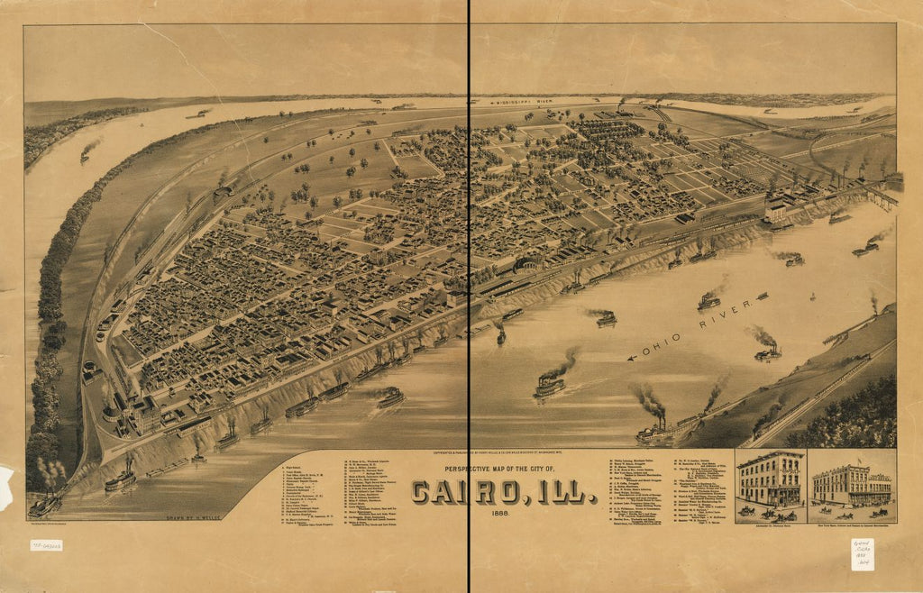 8 x 12 Reproduced Photo of Vintage Old Perspective Birds Eye View Map or Drawing of: Cairo, Ill. 1888. Wellge, H. (Henry) 1888