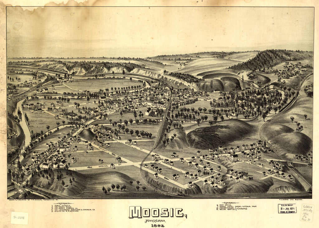 8 x 12 Reproduced Photo of Vintage Old Perspective Birds Eye View Map or Drawing of: Moosic, Pennsylvania 1892 Fowler, T. M. - Downs, A. E. (Albert E.) - Fowler, T. M 1892