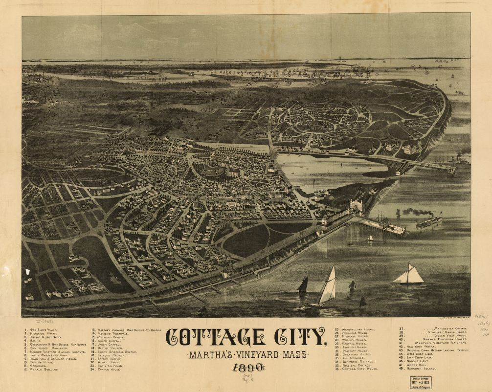 8 x 12 Reproduced Photo of Vintage Old Perspective Birds Eye View Map or Drawing of: Cottage City, Martha's Vineyard, Mass. 1890.   Welcke, Robert A. 1890