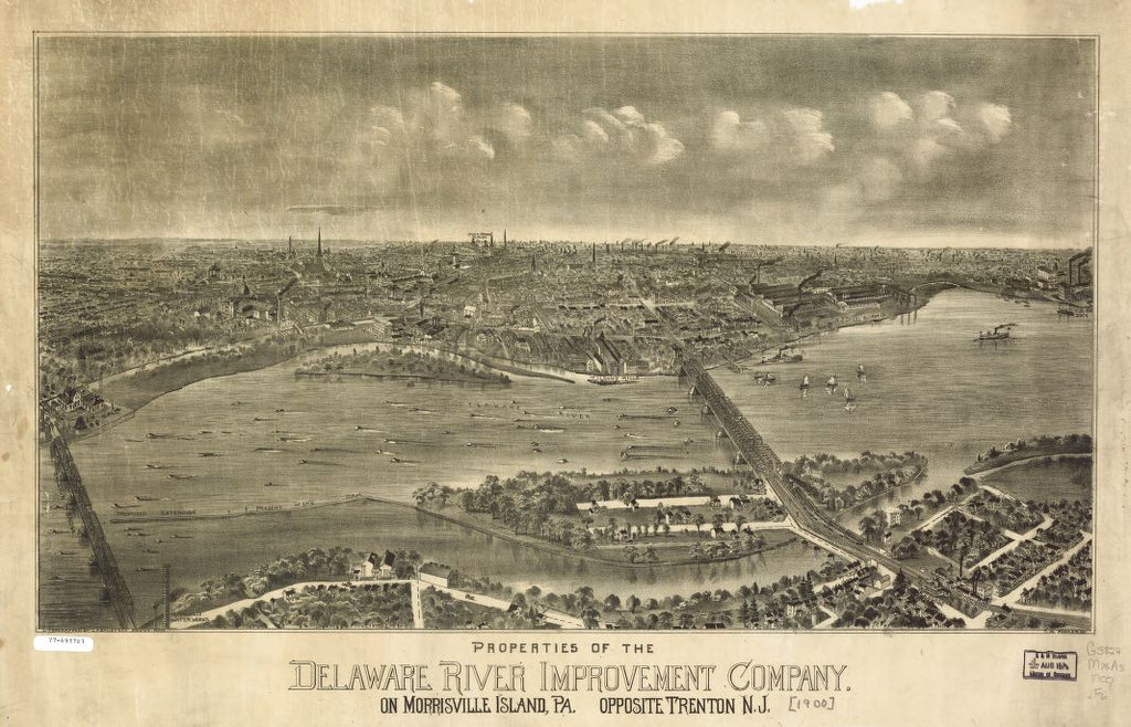 8 x 12 Reproduced Photo of Vintage Old Perspective Birds Eye View Map or Drawing of: Properties of the Delaware River Improvement Company on Morrisville Island, Pa. opposite Trenton, N.J. Fowler, T. M. - O.H. Bailey & Co. - Fowler, T. M. 1900