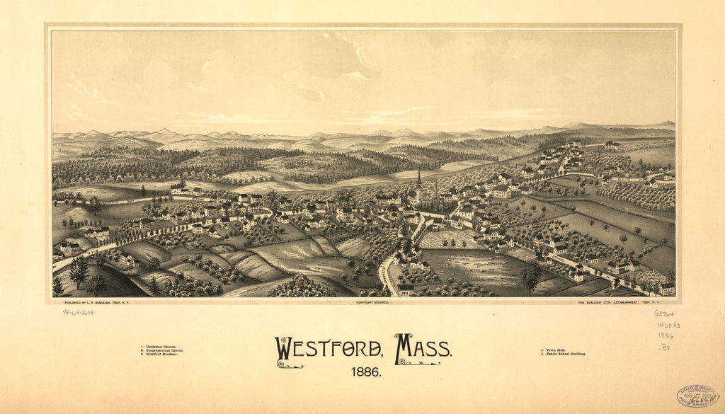 8 x 12 Reproduced Photo of Vintage Old Perspective Birds Eye View Map or Drawing of: Westford, Mass. 1886.  Burleigh, L. R. (Lucien R.) - Burleigh Litho - Burleigh, L. R.  1886
