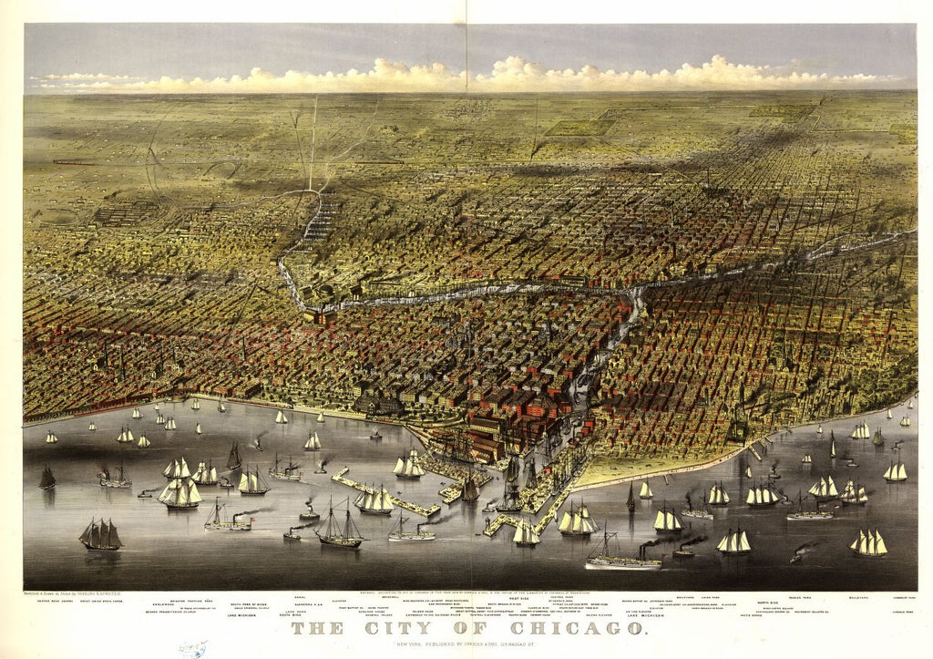 8 x 12 Reproduced Photo of Vintage Old Perspective Birds Eye View Map or Drawing of: Chicago / sketched & drawn on stone by Parsons & Atwater. Currier & Ives, publisherParsons & Atwater. 1874