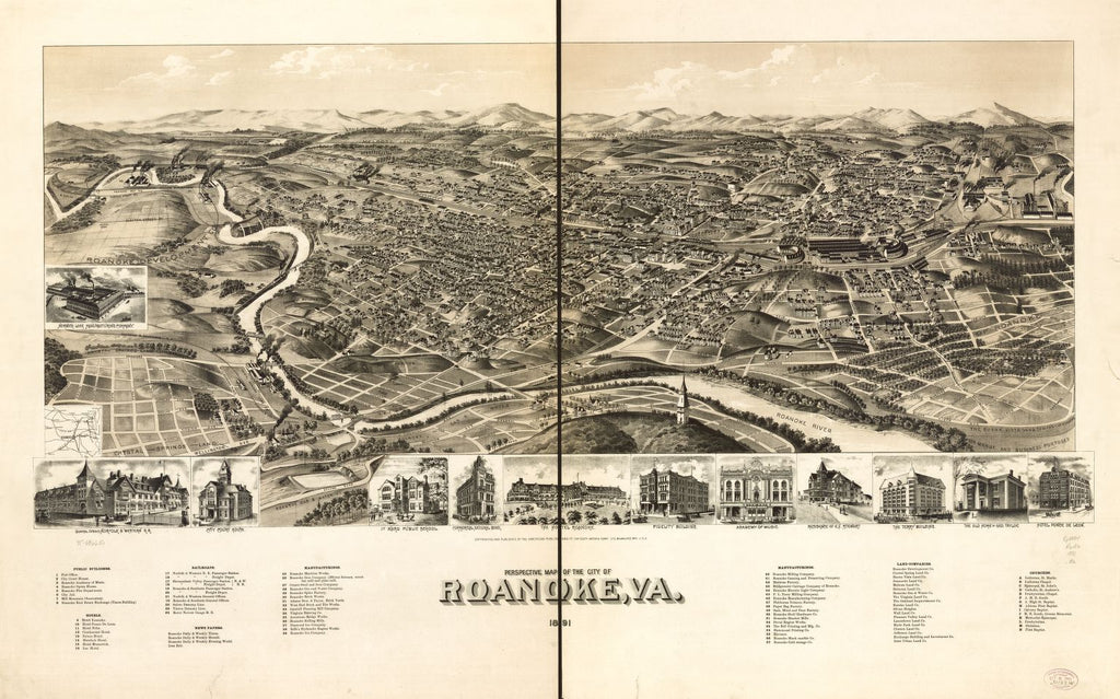8 x 12 Reproduced Photo of Vintage Old Perspective Birds Eye View Map or Drawing of: Roanoke, Va. 1891. American Publishing Co. (Milwaukee, Wis.) 1891