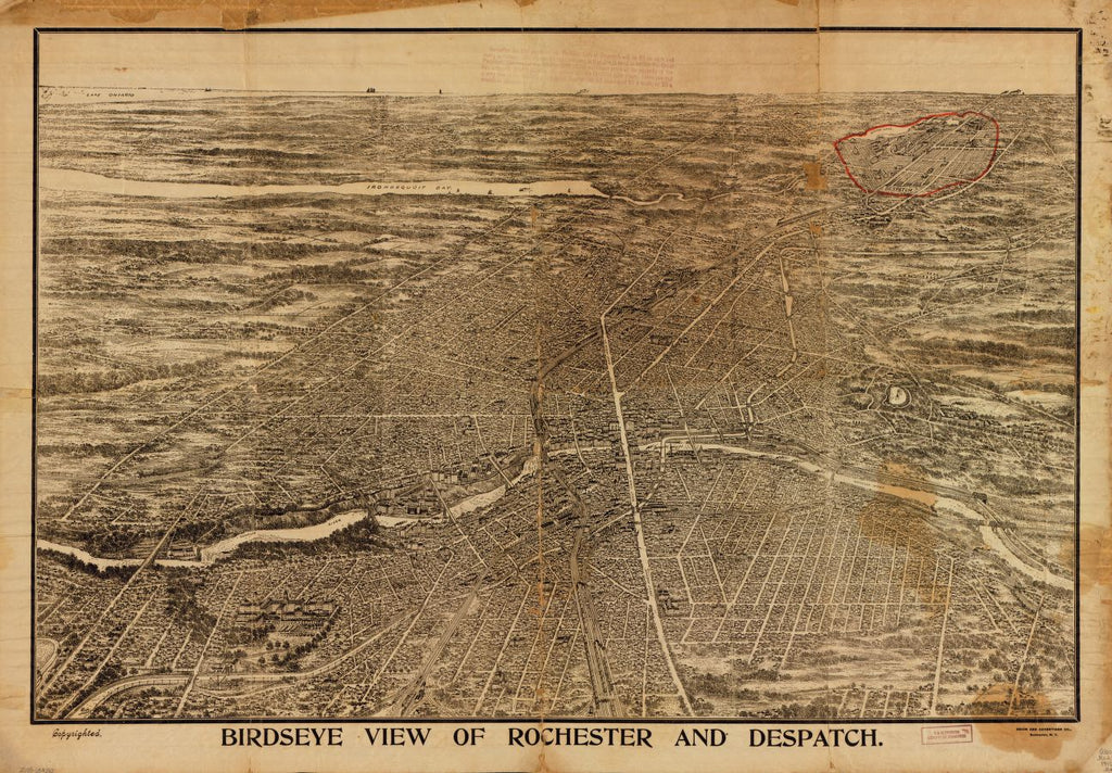 8 x 12 Reproduced Photo of Vintage Old Perspective Birds Eye View Map or Drawing of: Birdseye Rochester and Despatch  Reits - Union and Advertiser Co. 1910