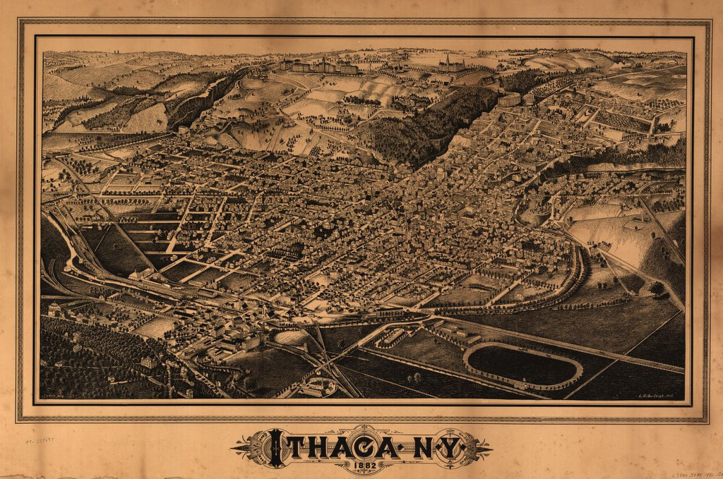 8 x 12 Reproduced Photo of Vintage Old Perspective Birds Eye View Map or Drawing of: Ithaca, N.Y. Burleigh, L. R. (Lucien R.) - Lyth, J. - Burleigh, L. R. 1882