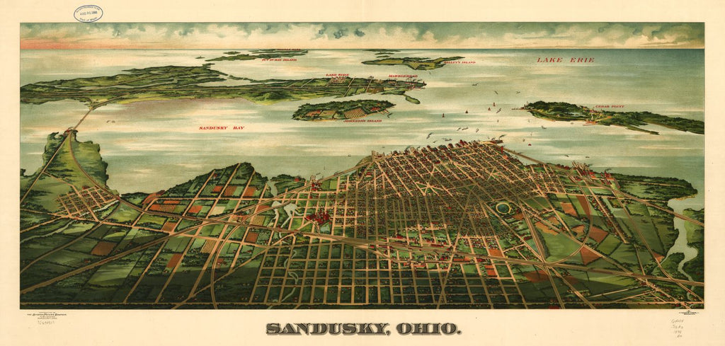 8 x 12 Reproduced Photo of Vintage Old Perspective Birds Eye View Map or Drawing of: Sandusky, Ohio. Alvord-Peters Company. 1898