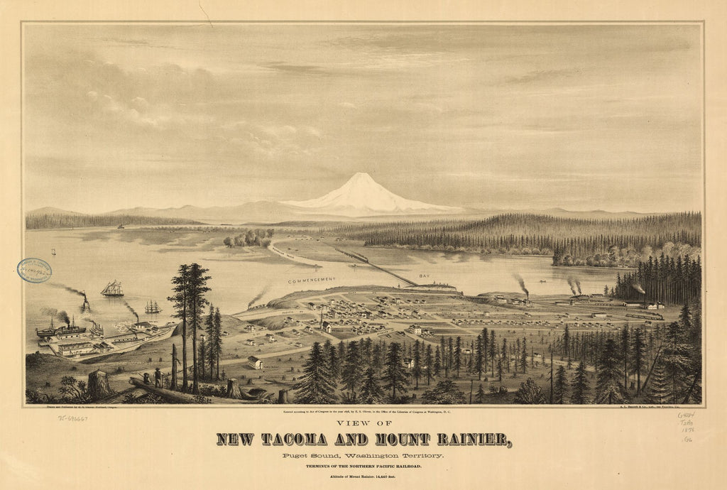 8 x 12 Reproduced Photo of Vintage Old Perspective Birds Eye View Map or Drawing of: new Tacoma and Mount Rainier, Puget Sound, Washington Territory. Glover, E. S. (Eli Sheldon), 1844-1920. 1878