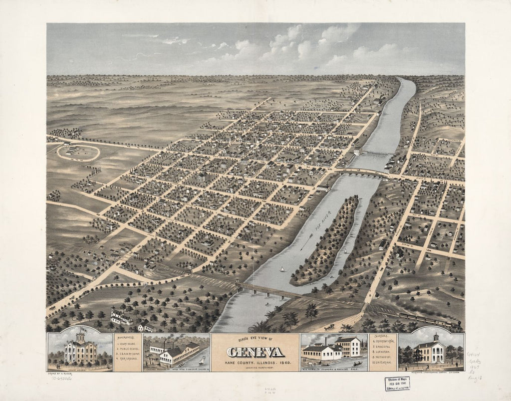 8 x 12 Reproduced Photo of Vintage Old Perspective Birds Eye View Map or Drawing of: Geneva, Kane County, Illinois 1869. Ruger, A. 1869