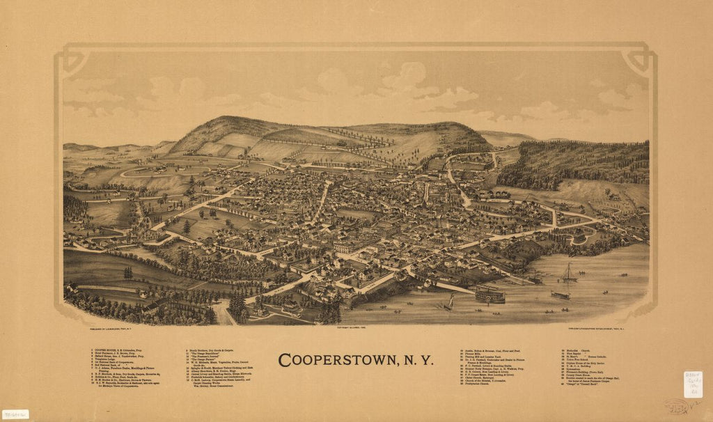 8 x 12 Reproduced Photo of Vintage Old Perspective Birds Eye View Map or Drawing of: Cooperstown, N.Y.  Burleigh, L. R. (Lucien R.) - Burleigh Litho - Burleigh, L. R.  1890