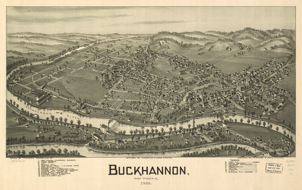 8 x 12 Reproduced Photo of Vintage Old Perspective Birds Eye View Map or Drawing of: Buckhannon, West Virginia 1900. Fowler, T. M. (Thaddeus Mortimer), 1842-1922.Moyer, James B. 1900