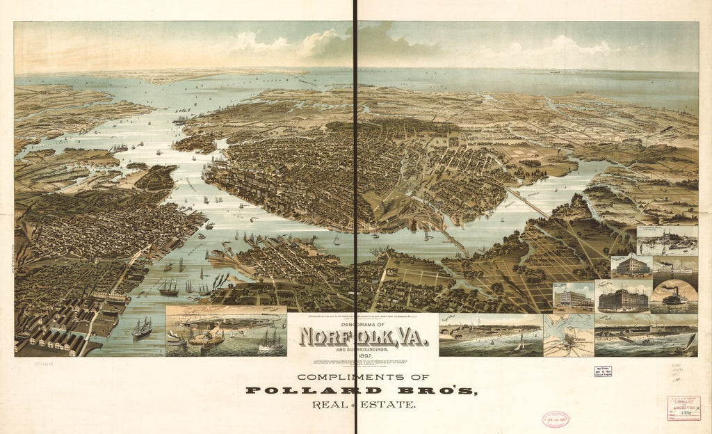 8 x 12 Reproduced Photo of Vintage Old Perspective Birds Eye View Map or Drawing of: Panorama of Norfolk and surroundings 1892. Wellge, H. (Henry) 1892