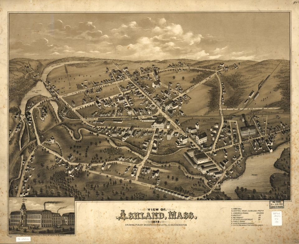 8 x 12 Reproduced Photo of Vintage Old Perspective Birds Eye View Map or Drawing of: Ashland, Mass. 1878.  Bailey, O. H. (Oakley Hoopes) - Hazen, J. C. - Bailey, O. H.  1878