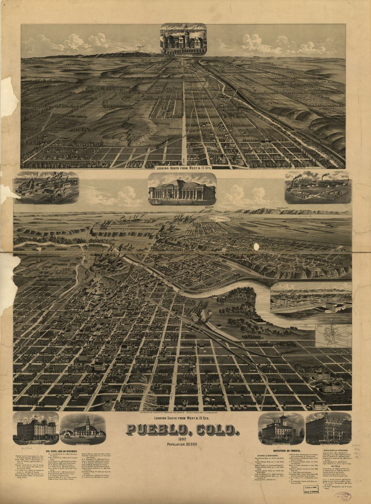 8 x 12 Reproduced Photo of Vintage Old Perspective Birds Eye View Map or Drawing of: Pueblo, Colo. 1890. American Publishing Co. (Milwaukee, Wis.) 1890