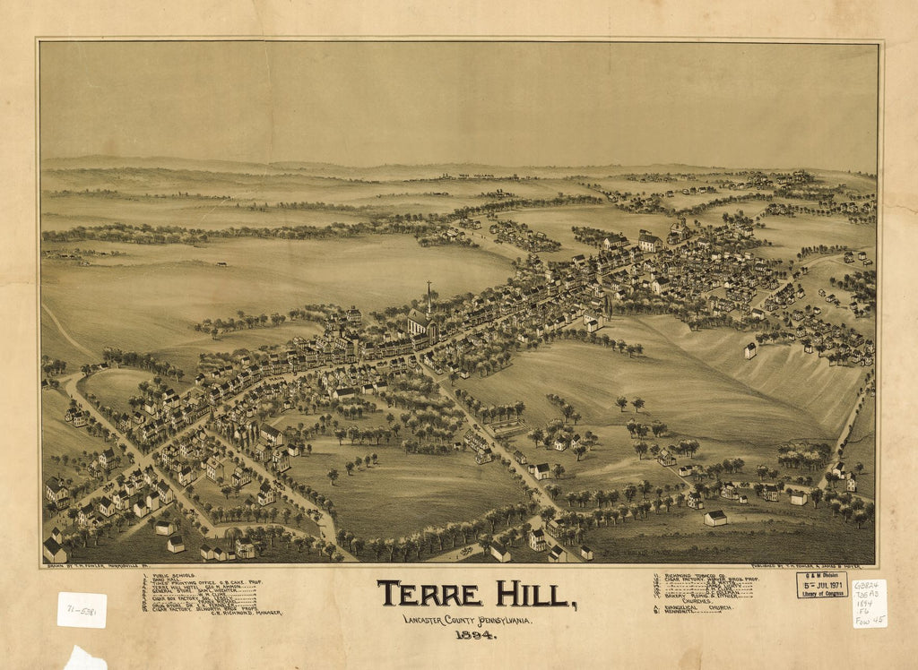 8 x 12 Reproduced Photo of Vintage Old Perspective Birds Eye View Map or Drawing of: Terre Hill, Lancaster County, Pennsylvania 1894  Fowler, T. M. - Moyer, James - Fowler, T. M.  1894
