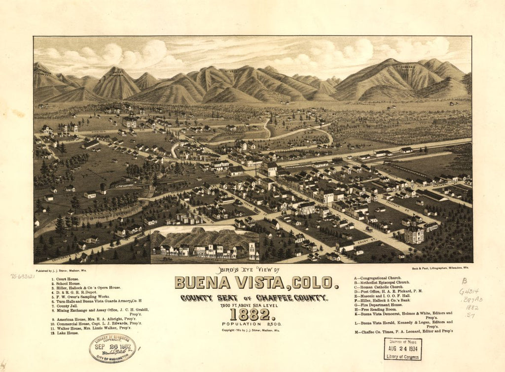 8 x 12 Reproduced Photo of Vintage Old Perspective Birds Eye View Map or Drawing of: Buena Vista, Colo. county seat of Chaffee County. 1882. Stoner, J. J. c1882