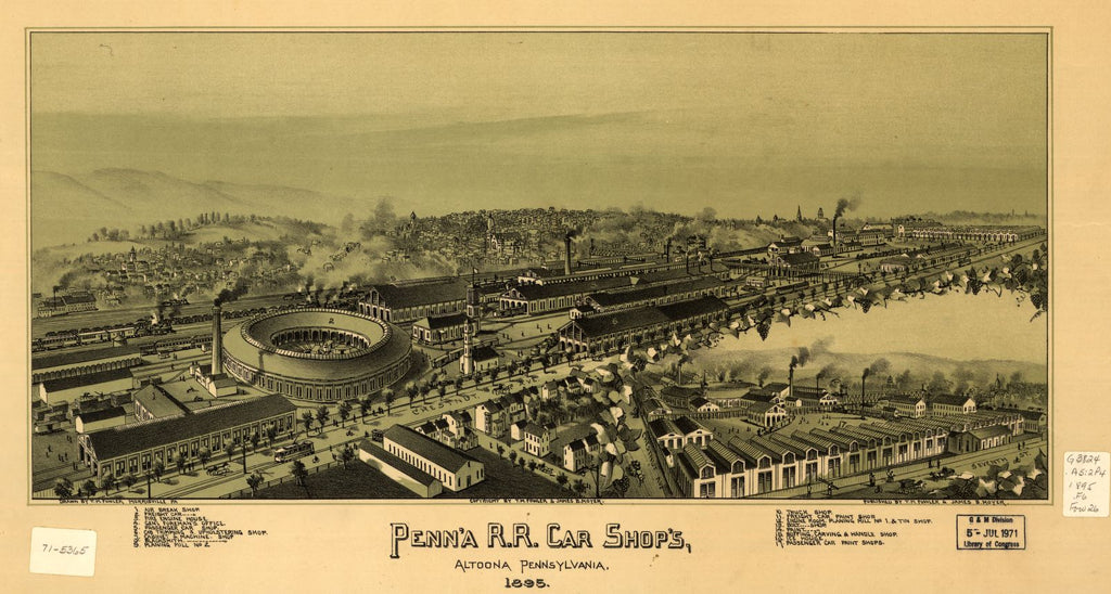 8 x 12 Reproduced Photo of Vintage Old Perspective Birds Eye View Map or Drawing of: Penn'a R.R. car shop's Altoona, Pennsylvania 1895 Fowler, T. M. (Thaddeus Mortimer), 1842-1922.Moyer, James B. 1895