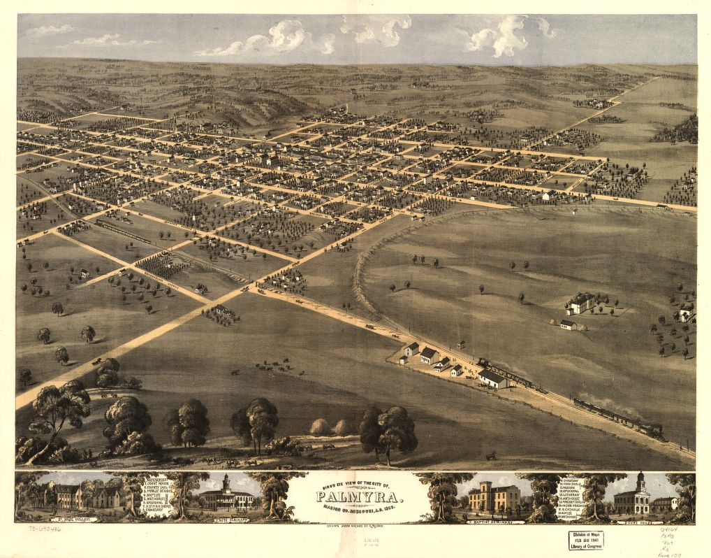 8 x 12 Reproduced Photo of Vintage Old Perspective Birds Eye View Map or Drawing of: Palmyra, Marion Co., Missouri, A.D. 1869. Ruger, A. 1869