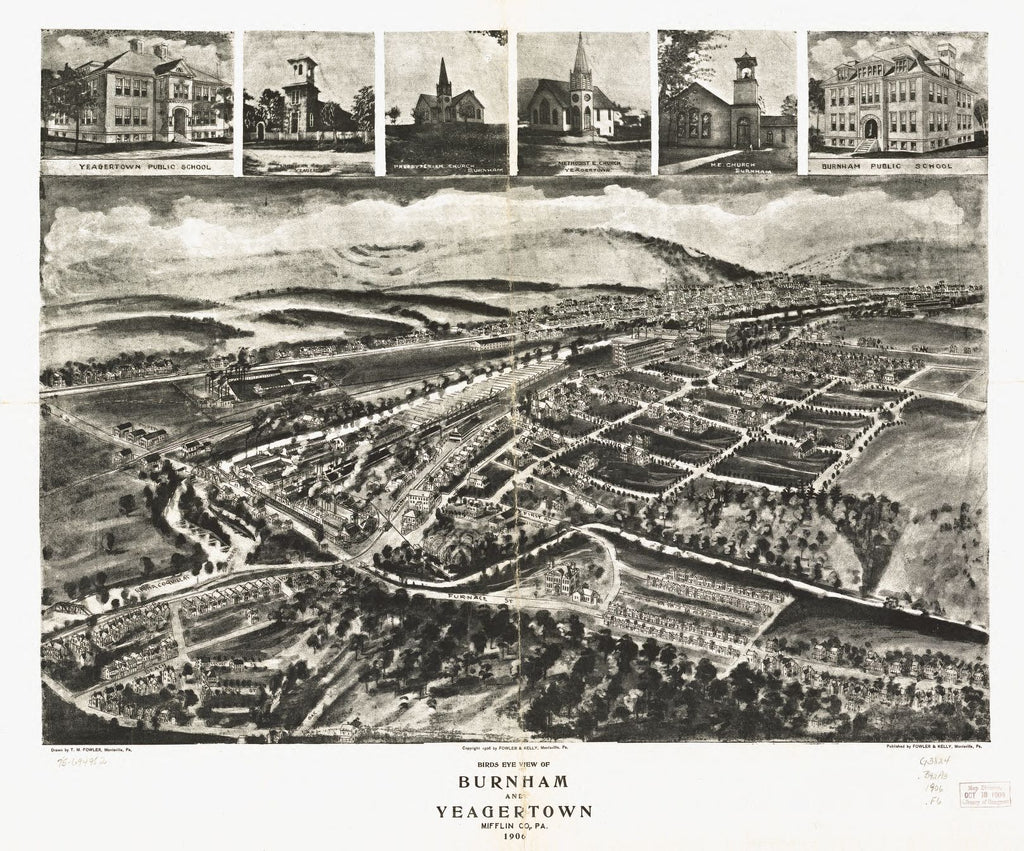 8 x 12 Reproduced Photo of Vintage Old Perspective Birds Eye View Map or Drawing of: Burnham and Yeagertown, Mifflin Co., Pa. 1906. Fowler, T. M. - Fowler & Kelly - Fowler, T. M. 1906