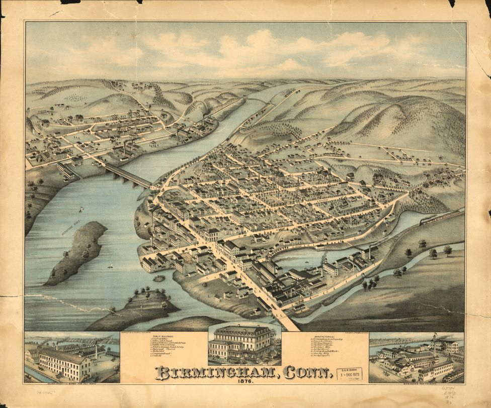 8 x 12 Reproduced Photo of Vintage Old Perspective Birds Eye View Map or Drawing of: Birmingham, Conn. 1876.  O.H. Bailey & Co.  1876