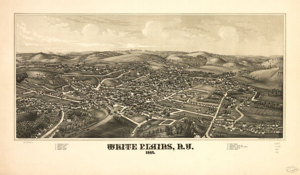 8 x 12 Reproduced Photo of Vintage Old Perspective Birds Eye View Map or Drawing of: White Plains, N.Y. 1887. Burleigh, L. R. (Lucien R.) - Burleigh Litho - Burleigh, L. R. 1887