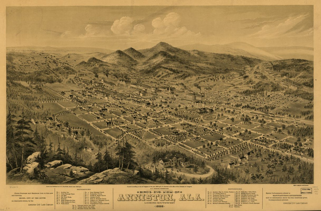 8 x 12 Reproduced Photo of Vintage Old Perspective Birds Eye View Map or Drawing of: Anniston, Ala. 1888. Glover, E. S. (Eli Sheldon), 1844-1920.Shober & Carqueville. c1888.
