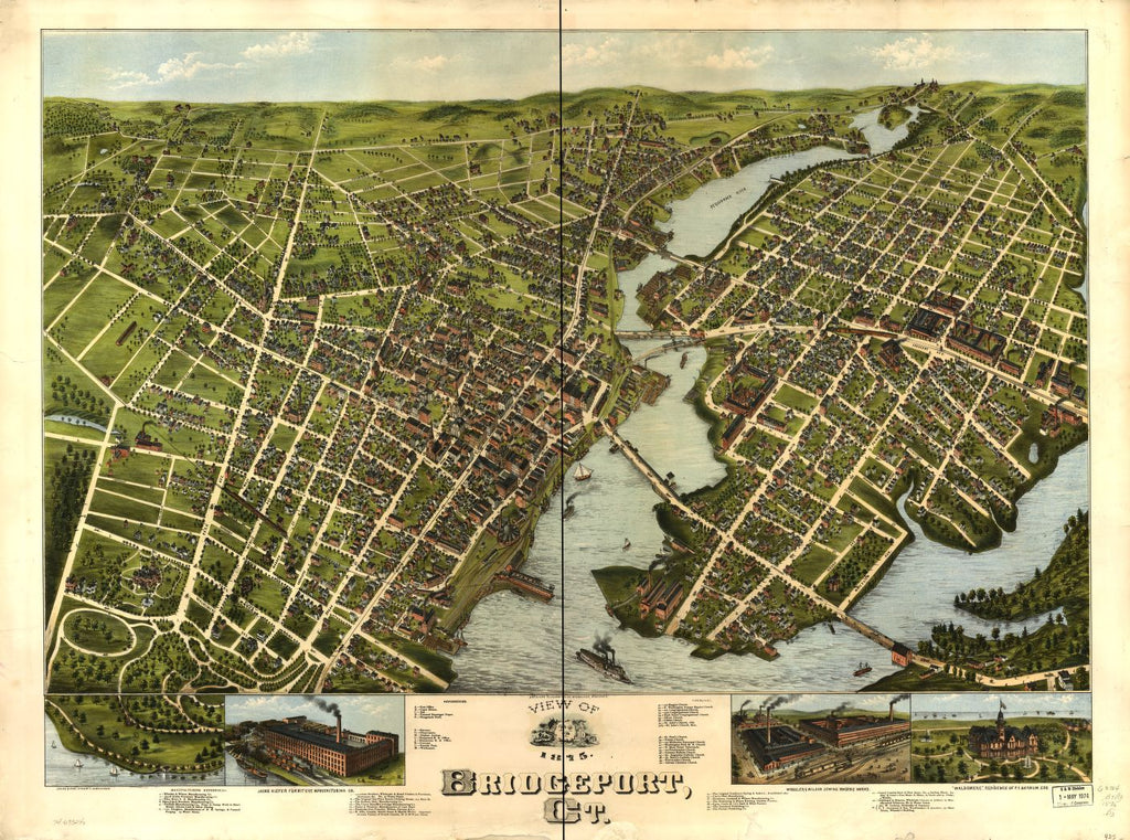 8 x 12 Reproduced Photo of Vintage Old Perspective Birds Eye View Map or Drawing of: Bridgeport, Ct. 1875.  O.H. Bailey & Co. - American Oleograph Co.  1875