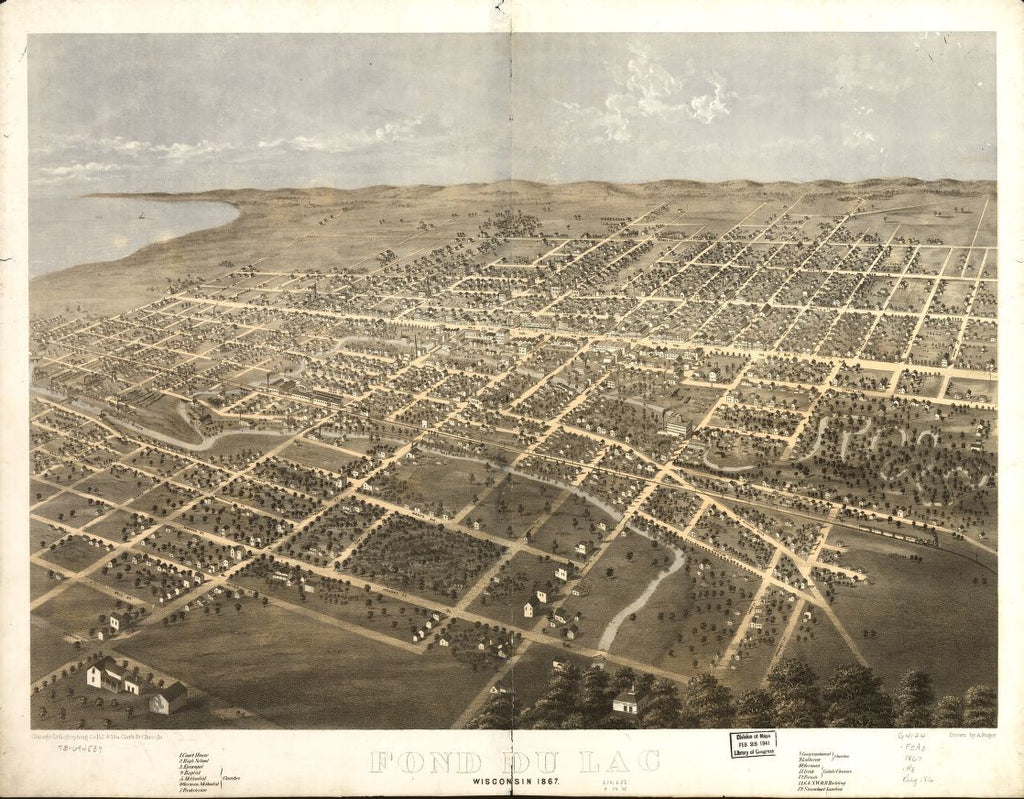 8 x 12 Reproduced Photo of Vintage Old Perspective Birds Eye View Map or Drawing of: Fond du Lac, Wisconsin 1867. Ruger, A. 1867
