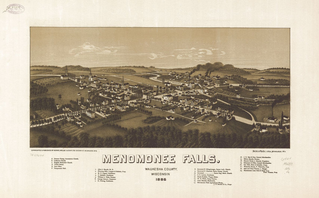 8 x 12 Reproduced Photo of Vintage Old Perspective Birds Eye View Map or Drawing of: Menomonee Falls, Waukesha County, Wisconsin. 1886. Norris, Wellge & Co. 1886