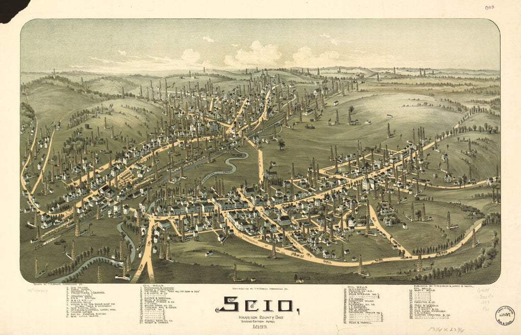 8 x 12 Reproduced Photo of Vintage Old Perspective Birds Eye View Map or Drawing of: Scio, Harrison County, Ohio. Fowler, T. M. (Thaddeus Mortimer 1899