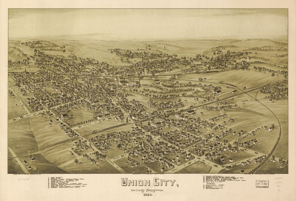 8 x 12 Reproduced Photo of Vintage Old Perspective Birds Eye View Map or Drawing of: Union City, Erie County, Pennsylvania 1895.  Fowler, T. M. - Moyer, James - Fowler, T. M.  1895