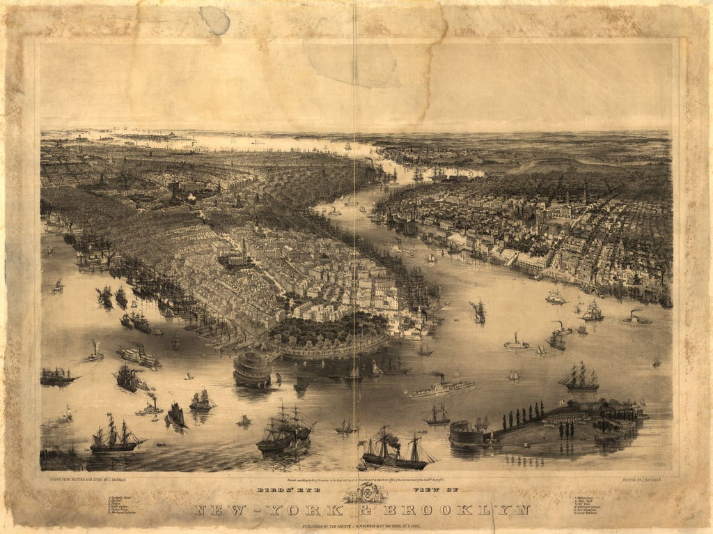 8 x 12 Reproduced Photo of Vintage Old Perspective Birds Eye View Map or Drawing of: New-York & Brooklyn / drawn from nature & on stone by J. Bachman[n]. Bachmann, John, artist 1851