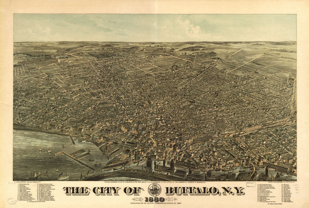 8 x 12 Reproduced Photo of Vintage Old Perspective Birds Eye View Map or Drawing of: Buffalo, N.Y. 1880.  Hutchinson, Edward Howard - Maerz Lithographing Co.  1880