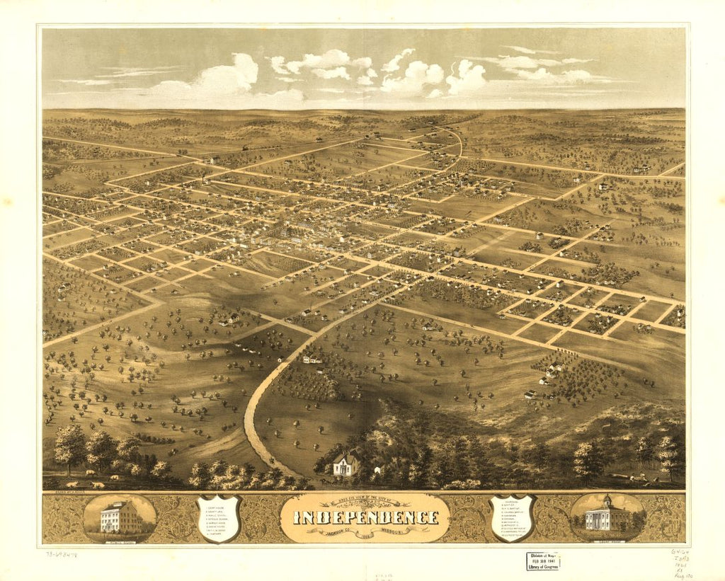 8 x 12 Reproduced Photo of Vintage Old Perspective Birds Eye View Map or Drawing of: Independence, Jackson Co., Missouri 1868. Ruger, A. 1868