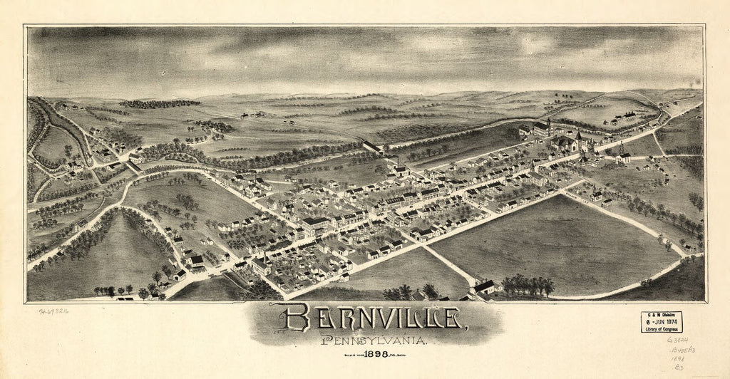 8 x 12 Reproduced Photo of Vintage Old Perspective Birds Eye View Map or Drawing of: Bernville, Pennsylvania. Bailey & Moyer 1898
