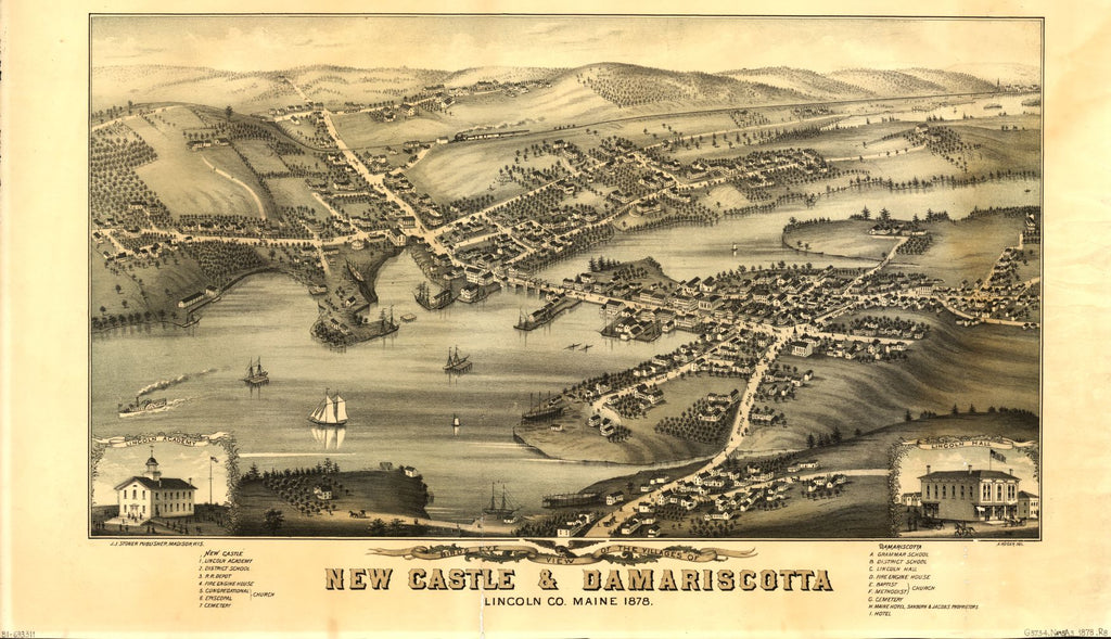 8 x 12 Reproduced Photo of Vintage Old Perspective Birds Eye View Map or Drawing of: the villages of New Castle & Damariscotta, Lincoln Co., Maine, 1878  Ruger, A. - Stoner, J. J.  1878
