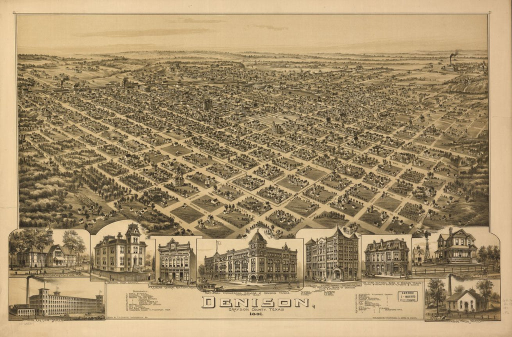 8 x 12 Reproduced Photo of Vintage Old Perspective Birds Eye View Map or Drawing of: Denison, Grayson County, Texas 1891. Fowler, T. M. (Thaddeus Mortimer 1891