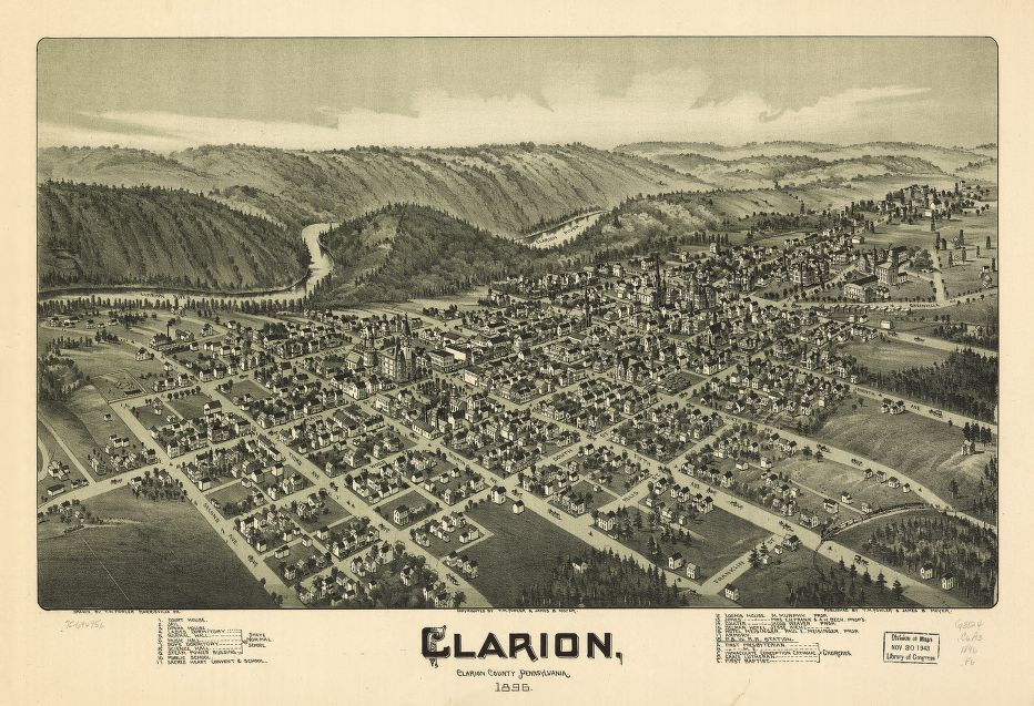 8 x 12 Reproduced Photo of Vintage Old Perspective Birds Eye View Map or Drawing of: Clarion, Clarion County, Pennsylvania 1896. Fowler, T. M. - Moyer, James - Fowler, T. M. 1896