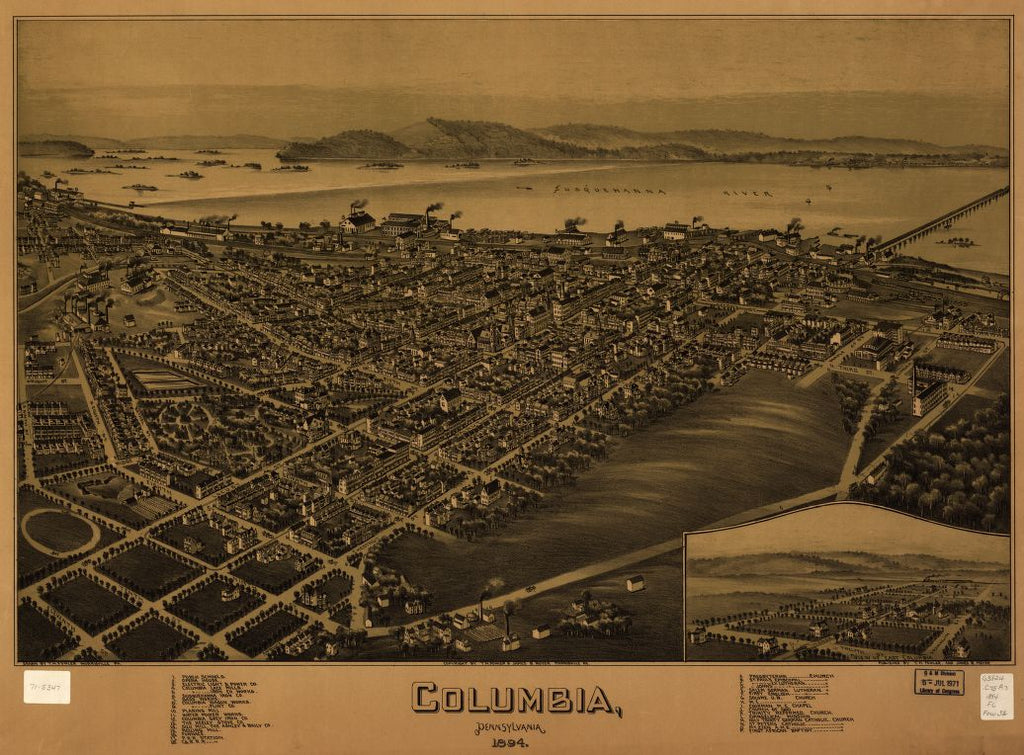 8 x 12 Reproduced Photo of Vintage Old Perspective Birds Eye View Map or Drawing of: Columbia, Pennsylvania 1894 Fowler, T. M. (Thaddeus Mortimer), 1842-1922.Moyer, James B. 1894]