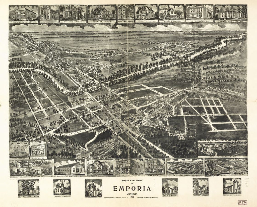 8 x 12 Reproduced Photo of Vintage Old Perspective Birds Eye View Map or Drawing of: Emporia, Virginia 1907. Fowler, T. M. (Thaddeus Mortimer), c1907.