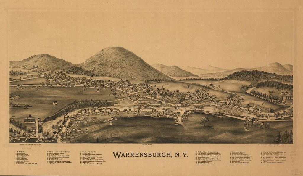 8 x 12 Reproduced Photo of Vintage Old Perspective Birds Eye View Map or Drawing of: Warrensburgh, N.Y. Burleigh, L. R. (Lucien R.) - Burleigh Litho - Burleigh, L. R. 1891