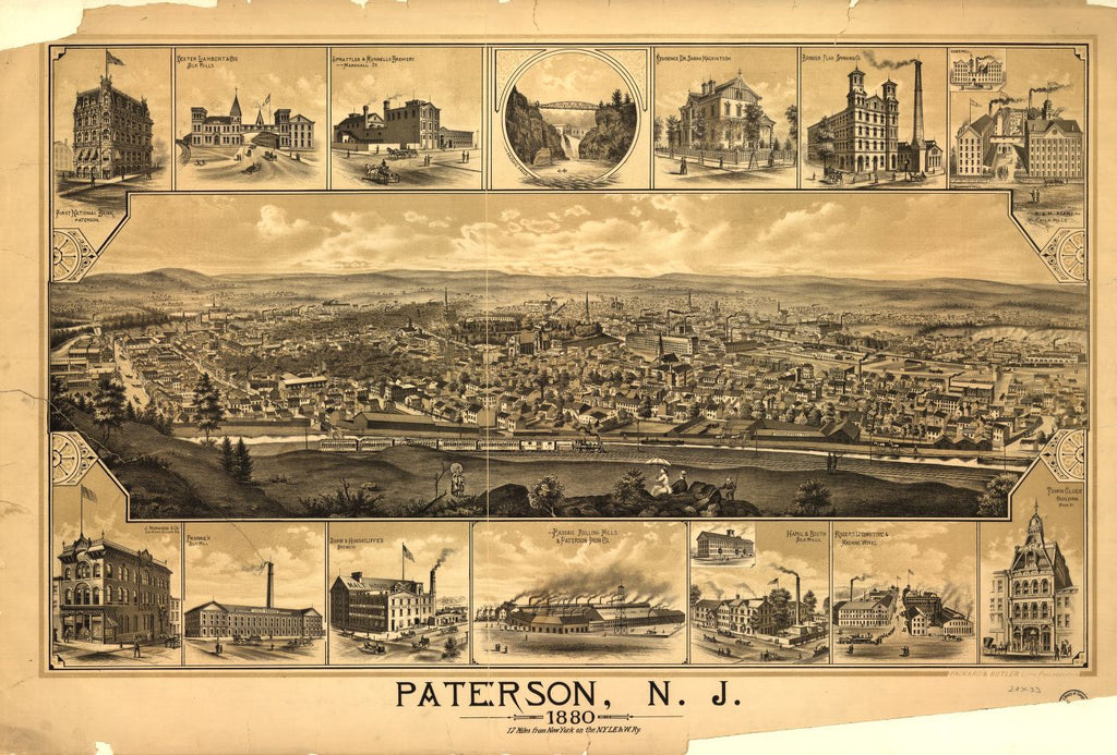 8 x 12 Reproduced Photo of Vintage Old Perspective Birds Eye View Map or Drawing of: Paterson, N.J. / Packard & Butler Lith. Philadelphia none 1880