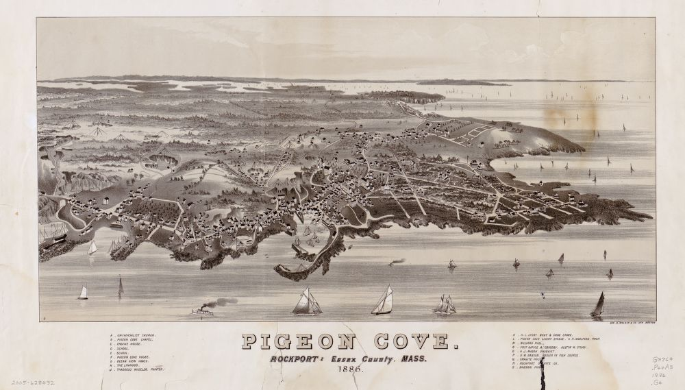 8 x 12 Reproduced Photo of Vintage Old Perspective Birds Eye View Map or Drawing of: Pigeon Cove, Rockport, Essex County, Mass., 1886  Geo. H. Walker & Co.  1886