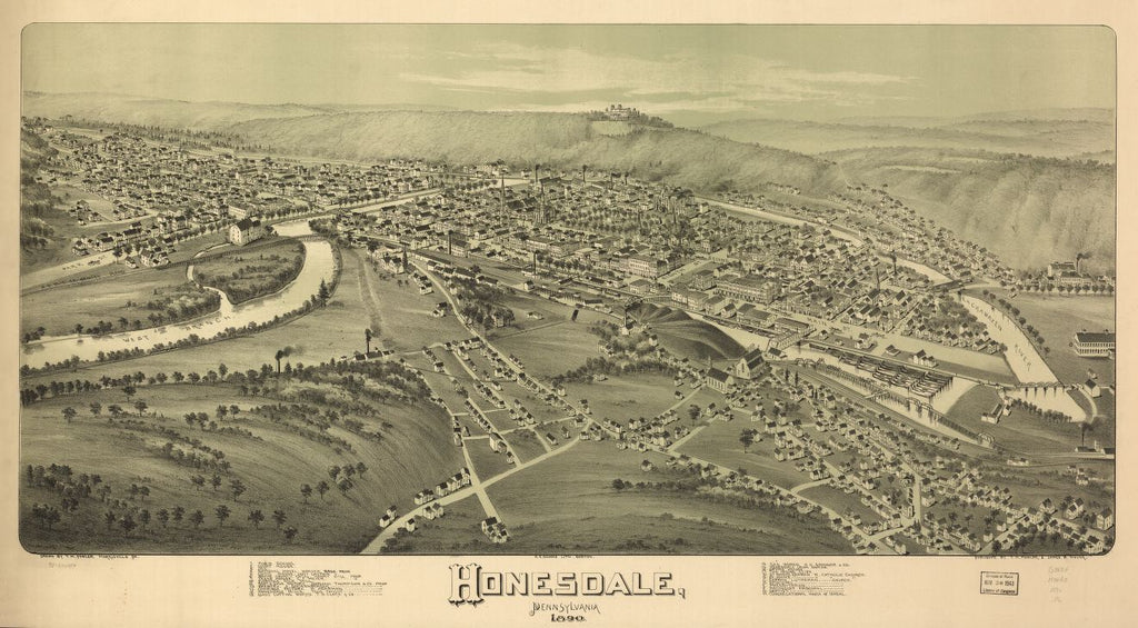 8 x 12 Reproduced Photo of Vintage Old Perspective Birds Eye View Map or Drawing of: Honesdale, Pennsylvania 1890. Fowler, T. M. - Downs, A. E. (Albert E.) - Moyer, James - Fowler, T. M. 1890