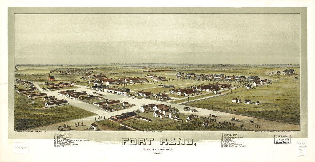 8 x 12 Reproduced Photo of Vintage Old Perspective Birds Eye View Map or Drawing of: Fort Reno, Oklahoma Territory 1891. Fowler, T. M. (Thaddeus Mortimer), 1842-1922.Moyer, James B. 1891