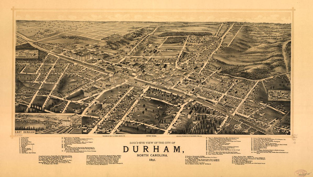 8 x 12 Reproduced Photo of Vintage Old Perspective Birds Eye View Map or Drawing of: Bird's-eye Durham, North Carolina 1891. Ruger & Stoner.Burleigh Litho. 1891