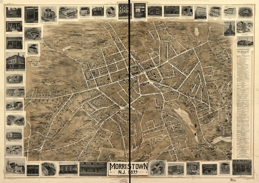 8 x 12 Reproduced Photo of Vintage Old Perspective Birds Eye View Map or Drawing of: Morristown, N.J. 1899. Landis & Alsop 1899