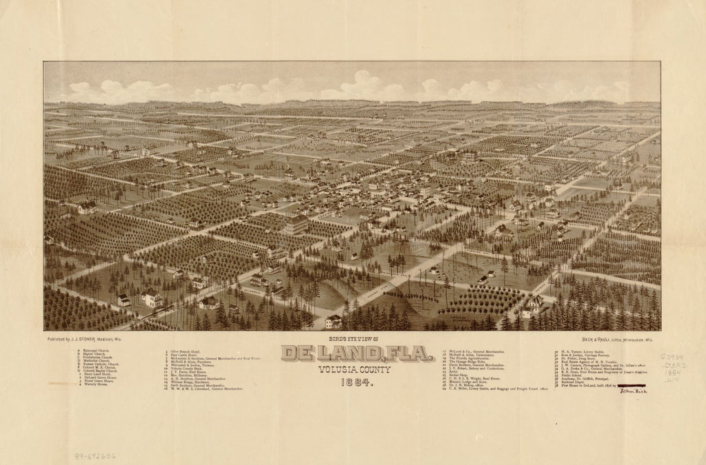 8 x 12 Reproduced Photo of Vintage Old Perspective Birds Eye View Map or Drawing of: De Land, Fla., Volusia County, 1884 Wellge, H. (Henry)Stoner, J. J.Beck & Pauli. 1884