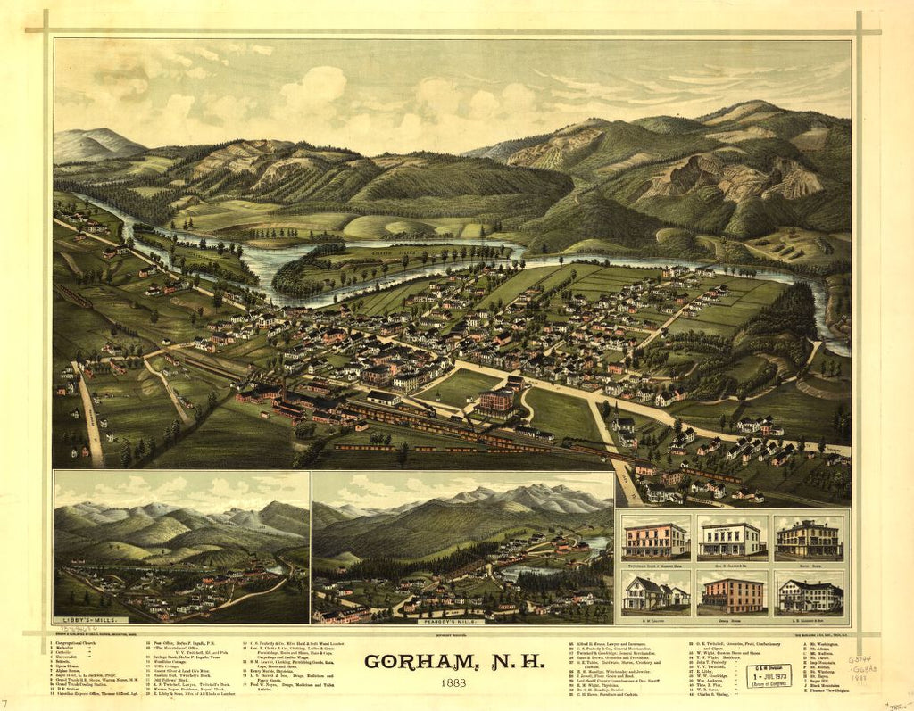 8 x 12 Reproduced Photo of Vintage Old Perspective Birds Eye View Map or Drawing of: Gorham, N.H. 1888.  Norris, George E. - Burleigh Litho  1888