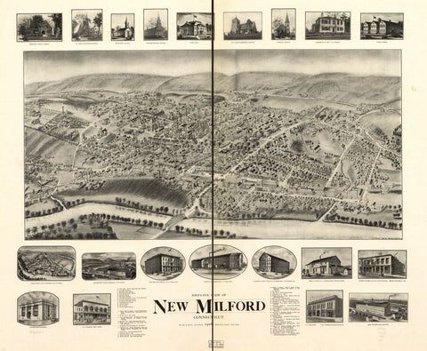 8 x 12 Reproduced Photo of Vintage Old Perspective Birds Eye View Map or Drawing of:  New Milford, Connecticut, 1906.  Hughes & Bailey  1906